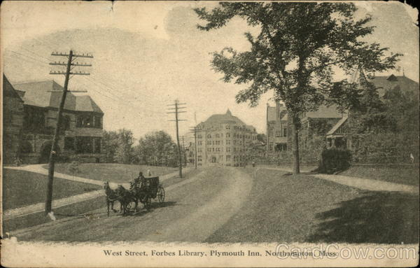 West Street, Forbes Library, Plymouth Inn Northampton Massachusetts