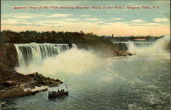 "General View of the Falls Showing Steamer ""Maid of the Mist"""