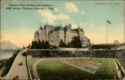 Tacoma High School and Stadium, 4000 School Children forming a flag