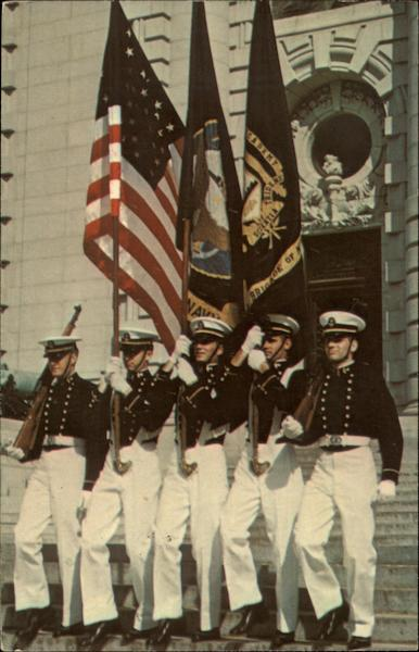 Color Guard, Front of Bancroft Hall. United States Naval Academy Annapolis Maryland