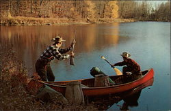 Fishermen in Canoe sighing a Deer