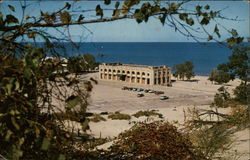 Bathing Pavilion and Parking Lot at Indiana Dunes State Park Postcard