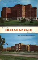 Veterans Administration Hospital & Larue D. Carter Memorial Hospital Postcard