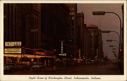 Night Scene of Washington Street Postcard