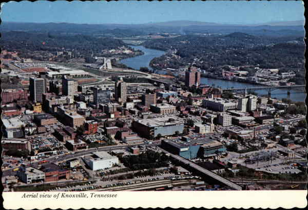 Aerial view of the City, River & Mountains Knoxville Tennessee