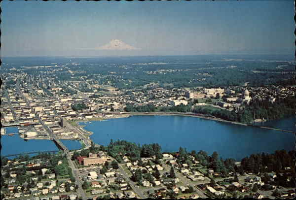 Aerial View of City Olympia Washington