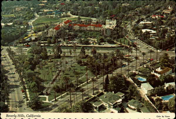 Birdseye view of world famous Beverly Hills California