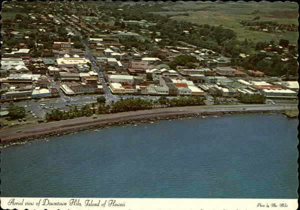 Aerial View of Downtown Hilo, Island of Hawaii