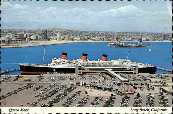 Aerial View of Queen Mary and Mary's Gate Village & Queen Mary Plaza Long Beach California