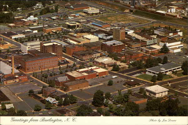 Aerial View Burlington North Carolina