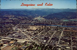 Aerial View Longview & Kelso Postcard