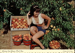 Girl Posing with Peach Harvest