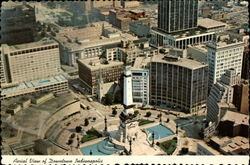 Aerial View of Downtow Indianapolis Postcard