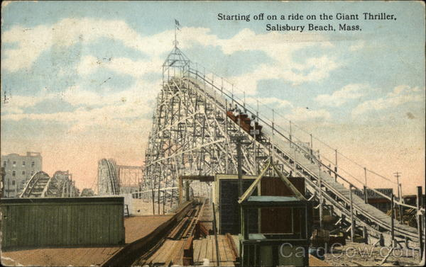 Starting off on a ride on the Giant Thriller Salisbury Beach Massachusetts