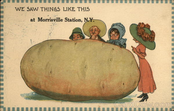 People admiring a huge potato Morrisville Station New York