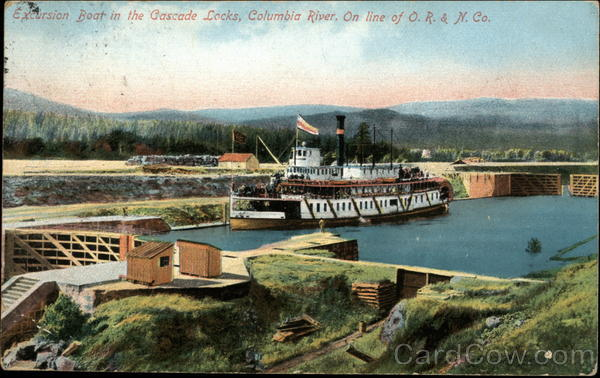 Excursion Boat in the Cascade Locks on the Columbia River