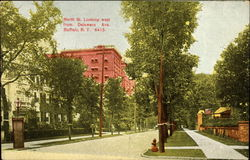 North Street Looking West from Delaware Avenue Postcard