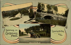 Scenes in Cherokee Park; Entrance, Belknap Bridge, Motoring in the park