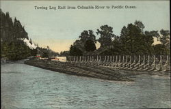 Towing Log Raft from Columbia River to Pacific Ocean