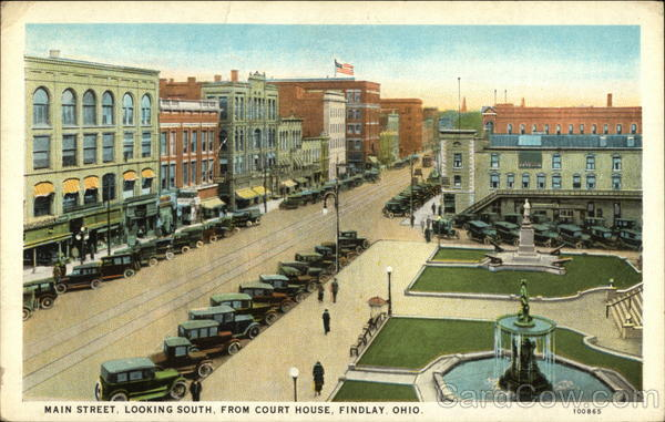 Main Street Looking South from Court House Findlay Ohio