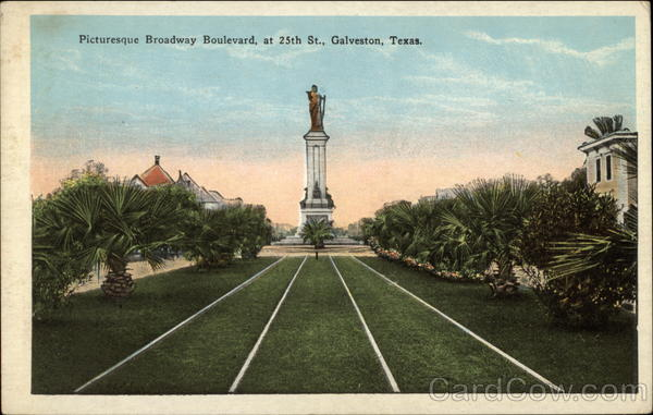 Picturesque Broadway Boulevard at 25th St Galveston Texas