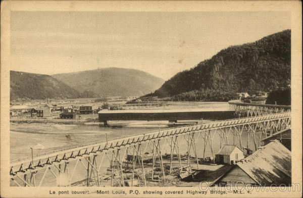 Mont Louis, P. Q. Showing Covered Highway Bridge Canada