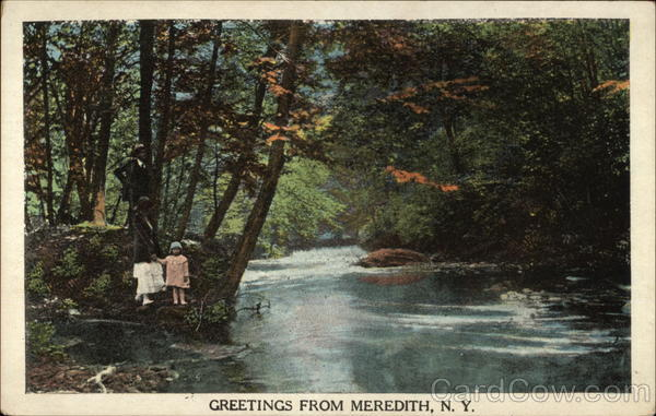 Family by Picturesque Stream Meredith New York