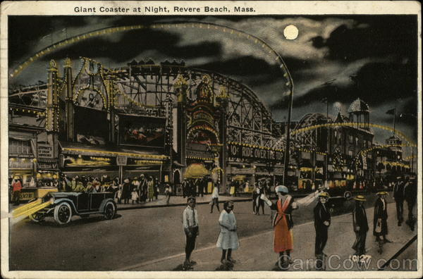 Giant Coaster at Night Revere Beach Massachusetts