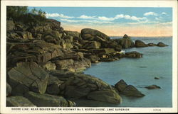 Shore Line, Near Beaver Bay on Highway No 1, North Shore, Lake Superior Postcard