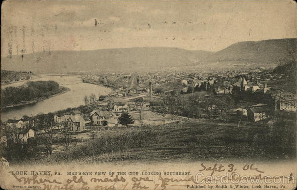 Bird's Eye View of the City looking Southeast Lock Haven Pennsylvania