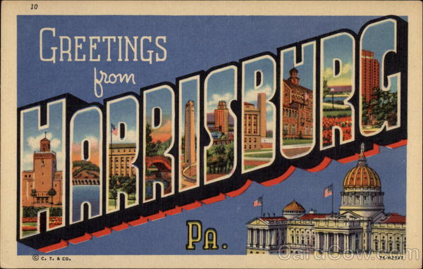 Greetings from Harrisburg Pennsylvania Large Letter