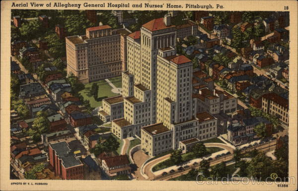 Aerial View of Allegheny General Hospital and Nurses' Home Pittsburgh Pennsylvania