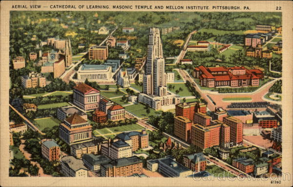 Aerial View, Cathedral of Learning, Masonic Temple and Mellon Institute Pittsburgh Pennsylvania