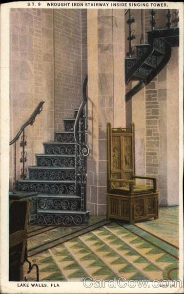 Wrought Iron Stairway Inside Singing Tower Lake Wales Florida