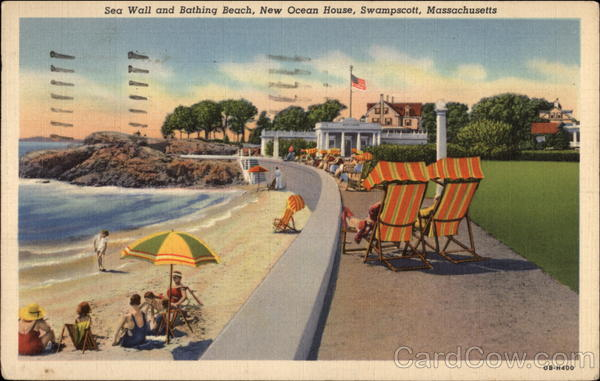 Sea Wall and Bathing Beach, New Ocean House Swampscott Massachusetts