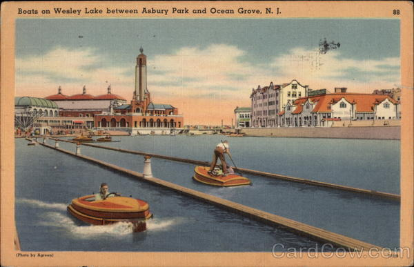 Boats on Wesley Lake between Asbury Park and Ocean Grove New Jersey