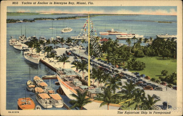 Yachts at Anchor in Biscayne Bay Miami Florida
