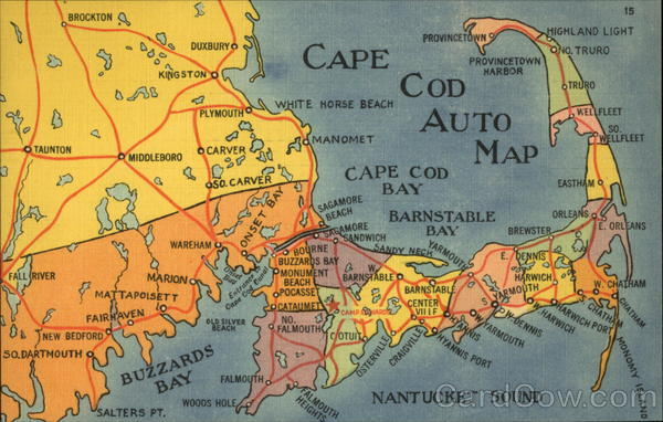 Cape Cod Auto Map Massachusetts Maps