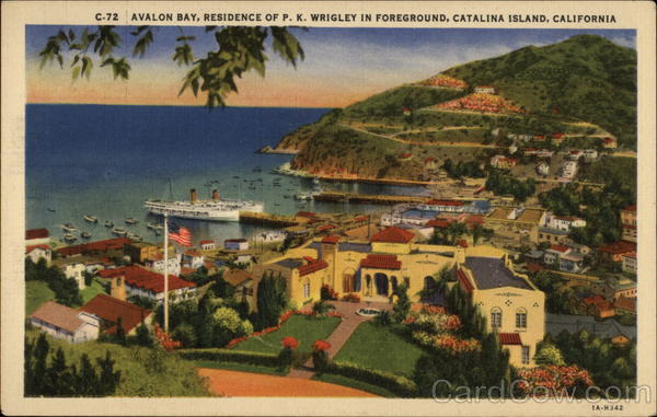 Avalon Bay, Residence of P.K. Wrigley in Foreground Catalilna Island California
