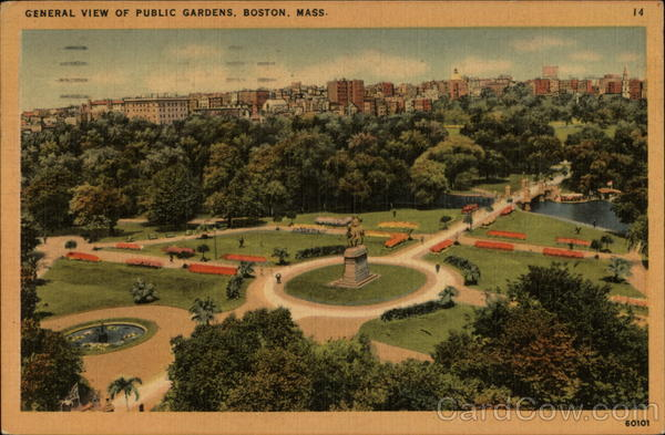 General View of Public Gardens Boston Massachusetts