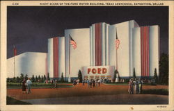 Night Scene of the Ford Motor Building, Texas Centennial Exposition Postcard