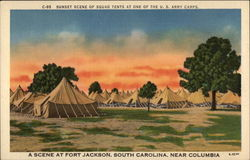 Sunset Scene of Squad Tents at one of the U.S. Army Camps