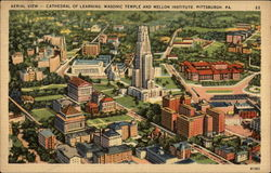 Aerial View, Cathedral of Learning, Masonic Temple and Mellon Institute