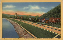Kanawha Boulevard from Kanawha City Bridge Showing the Capitol Dome
