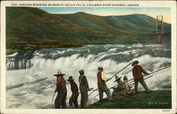 Indians Spearing Salmon at Celilo Falls, Columbia River Highway