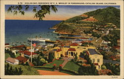 Avalon Bay, Residence of P.K. Wrigley in Foreground Postcard
