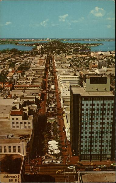 Aerial View of Lincoln Road Mall Miami Beach Florida