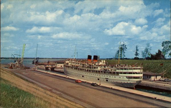 A Large Great Lakes Cruise Steamer Locking through Lock No. 7 Iroquis Lock Canada