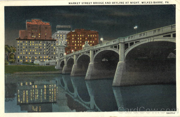 Market Street Bridge And Skyline at Night Wilkes Barre Pennsylvania