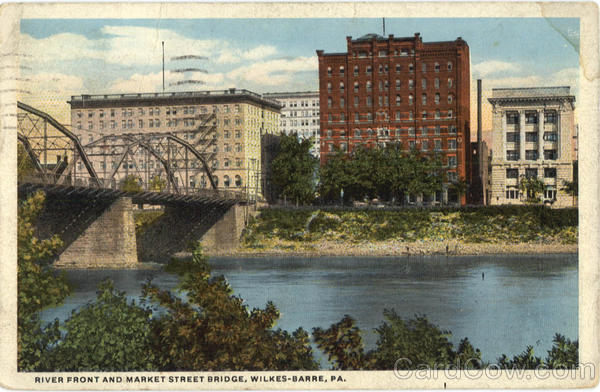 River front and Market Street Bridge Wilkes Barre Pennsylvania